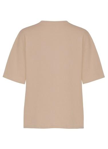 Nocturne Düşük Omuz Oversize Tişört Bej